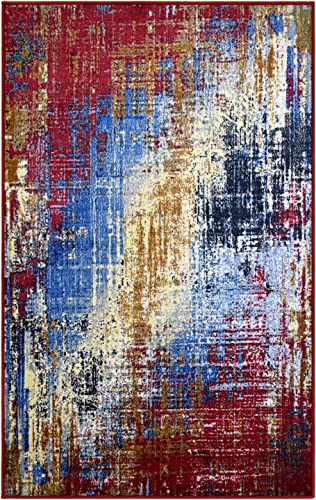 SUPERIOR Fingal Modern Abstract Non-Slip Indoor Area Rug