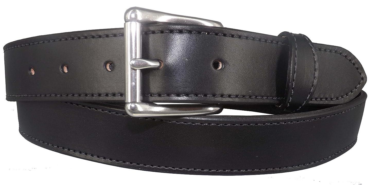 Mens Black Handmade Stitched English Bridle Leather Money Belt With Zipper