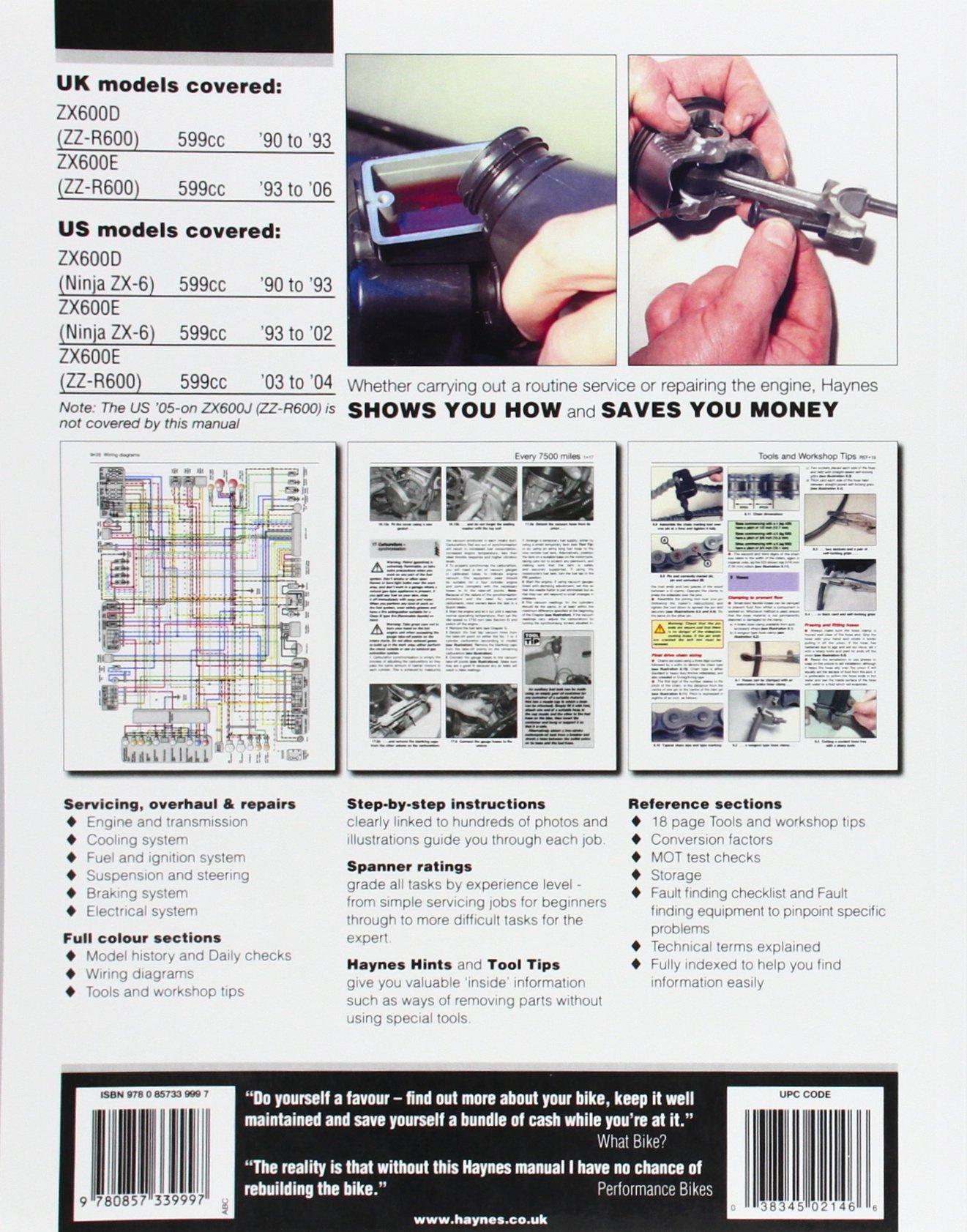 Kawasaki Zx600 Zz R600 Ninja Zx 6 90 To 06 Haynes Service Wiring Diagram Repair Manual Editors Of Manuals 9780857339997 Books