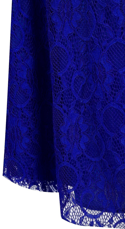 Angel-fashions Femme V Neck Lace Ruffle de Split Brode Gaine Robe