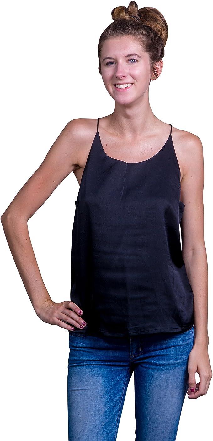 Womens pretty 100/% silk short cami black top NAUGHTY designer Size 8 10 12 NEW