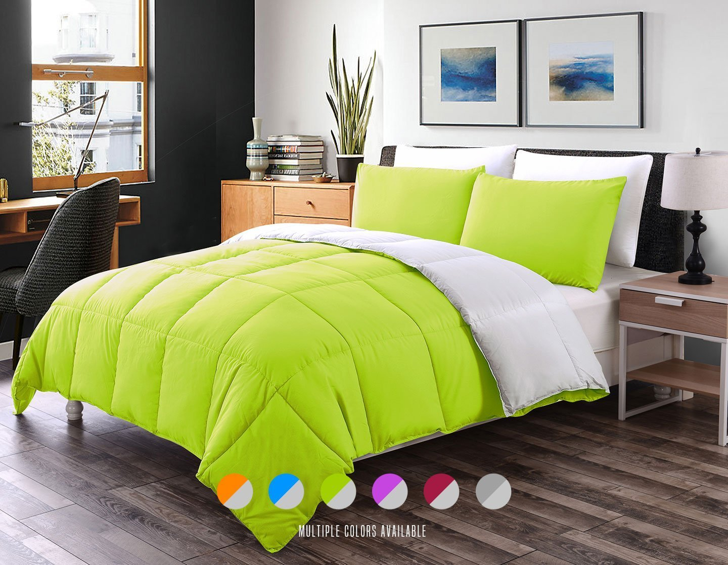 Luxe Bedding 3-PCS Reversible Down Alternative Quilted Duvet / Comforter Set LIme/Gray