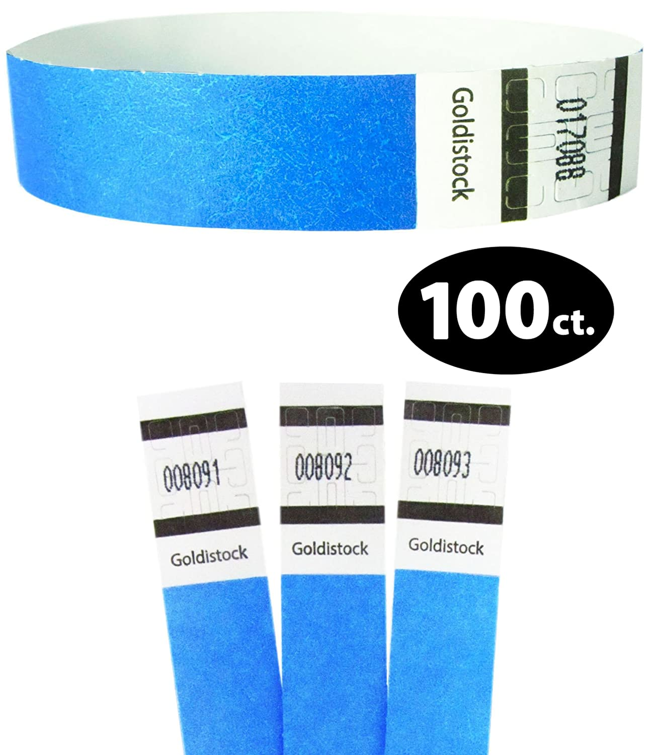 Goldistock 3/4 Tyvek Wristbands Top Ten Variety Pack 100 Ct. (10 Each): Neon :Green, Blue, Red, Yellow, Orange, Pink, Purple, Metallic Gold, Black, White - Event ID Bands (Paper - Like Texture)