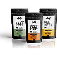 Beef Jerky   Aus Deutschland - Bayern   Set 3 x 50g = 150g Probierpack   100% Rind   High Protein 68%   Biltong Trockenfleisch mit viel Eiweiß   100% Natürlich   Ohne Zucker   Pfeffer   Smoky   Chili