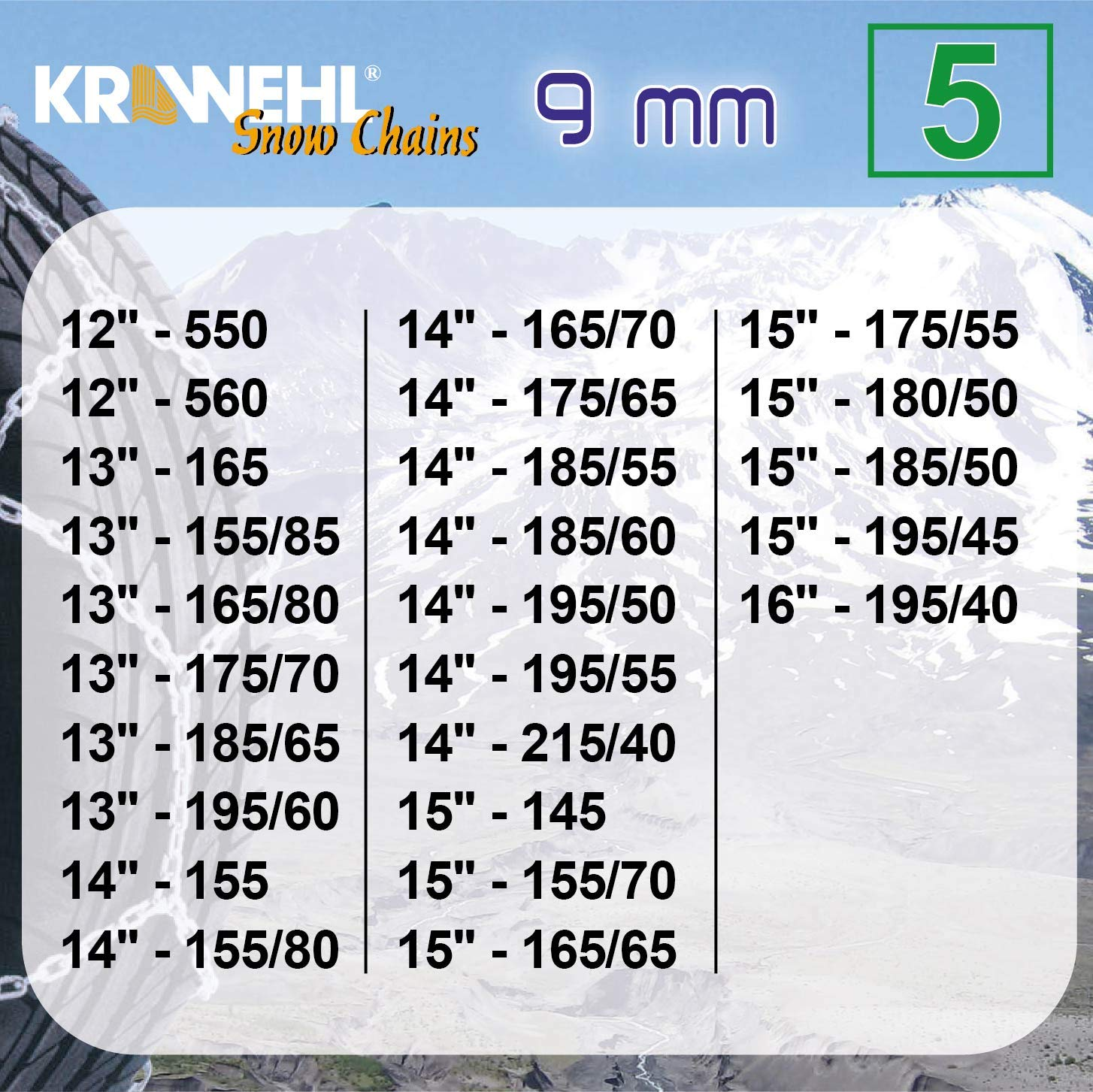 Cha/înes Voiture Anti-D/érapant Cha/înes De Neige Type Rombo KRAWEHL avec Tendeur M/écanique /Ø 9 Mm Groupe 13-3402.0011063