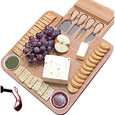 Cheese Board with Cutlery Set, Wooden Bamboo Charcuterie Platter & Serving Meat Board with Slide-Out Drawer, 4 Stainless Steel Knife and Server Set, gifts for Housewarming, Wedding