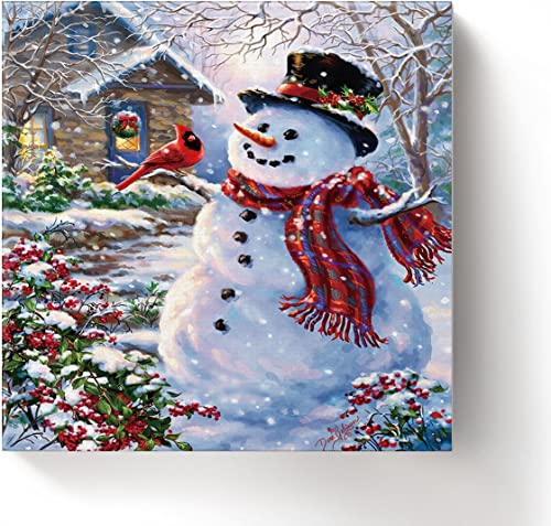 ALAGO Framed Wall Arts-Winter Holiday Merry Christmas Happy Snowman and Cardinals Giclee Canvas Prints Gallery Wrapped Modern Artwork Xmas Pictures Painting