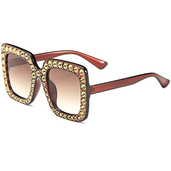 5ea37201d5 FEIRDIO Oversized Crystal Sunglasses For Women Sparkling Square Thick  Sunglasses FD 2264 (Brown-gradient
