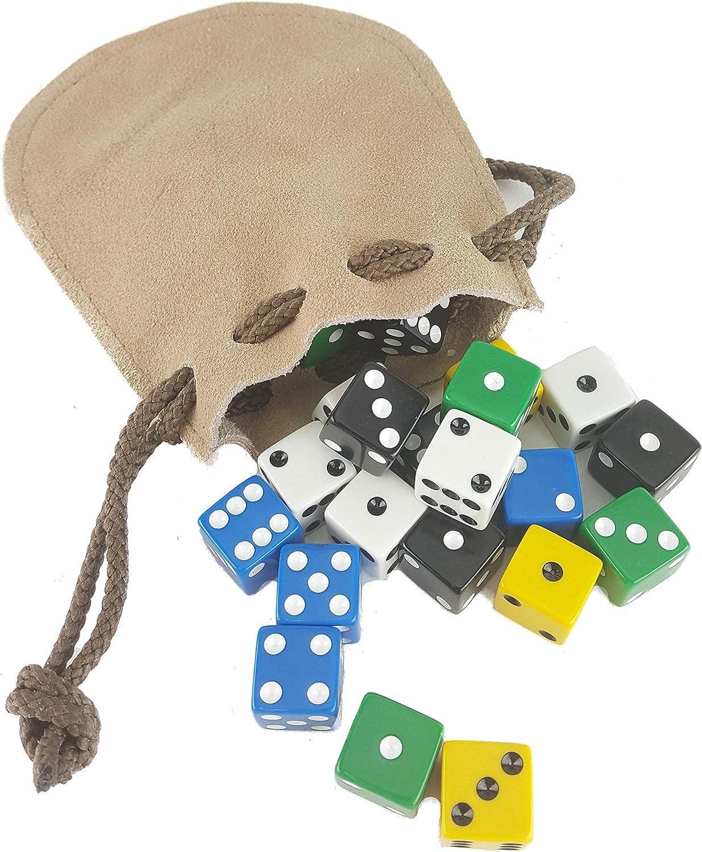 Juego de 25 Dados de mentirosos, 5 Colores, con Bolsa de Cuero: Amazon.es: Juguetes y juegos