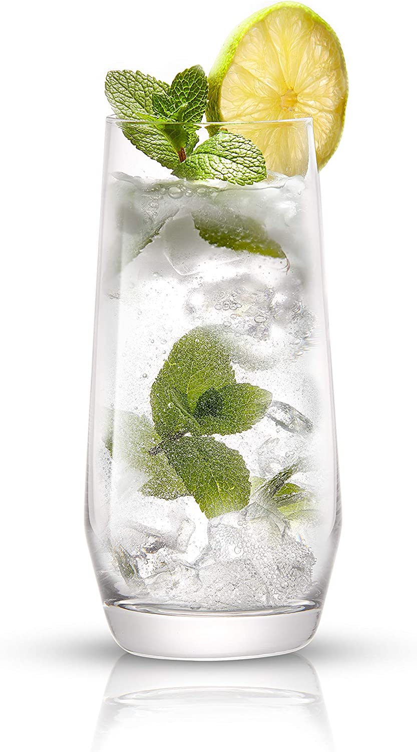 18oz Cocktail Glass Set Lead-Free Crystal Glassware Mojito and Tom Collins Glasses JoyJolt Gwen Highball Glasses Set of 4 Tall Drinking Glasses Bourbon or Whiskey Glass Cup Water Iced Tea Bar