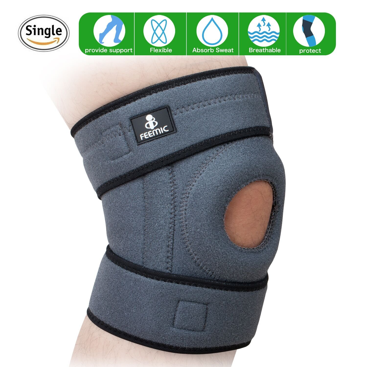 Knee Brace Support with Adjustable Strapping Non-Slip Breathable Sleeve. Meniscus Tear Support, Open-Patella Stabilizer Knee Brace for Running, Basketball,Sports, Arthritis and Injury Recovery