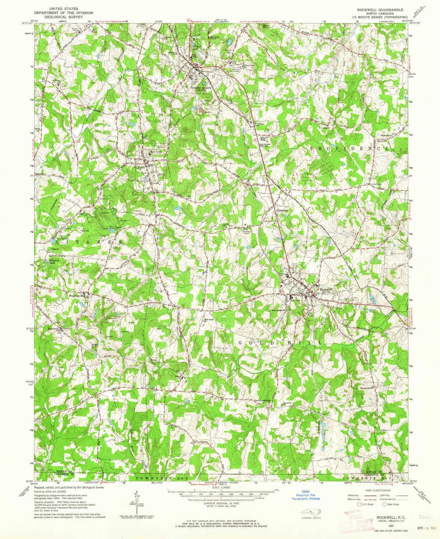 Amazon.: YellowMaps Rockwell NC topo map, 1:24000 Scale, 7.5 X