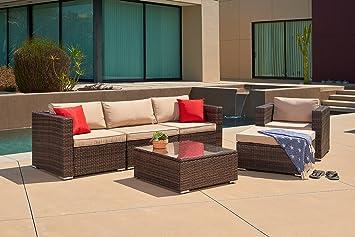 LAHAINA 6 Piece Wicker Sectional Sofa With Chair U0026 Ottoman  All Weather  Brown Wicker Patio