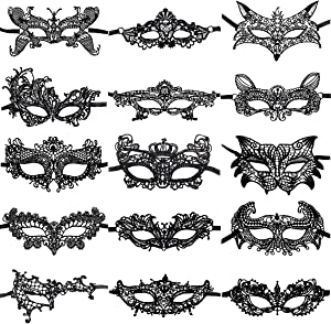 CNYMANY 15 Packs Women's Sexy Flexible Lace Masks Eye-mask for Ball Party Venetian Masquerade Costume - Black