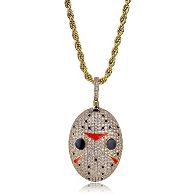 4a3561968f464 TOPGRILLZ 14K Gold Plated Iced Out CZ Simulated Diamond Slauhter Gang Mask  Pendant Necklace Chain s for Men Hip Hop Jewelry