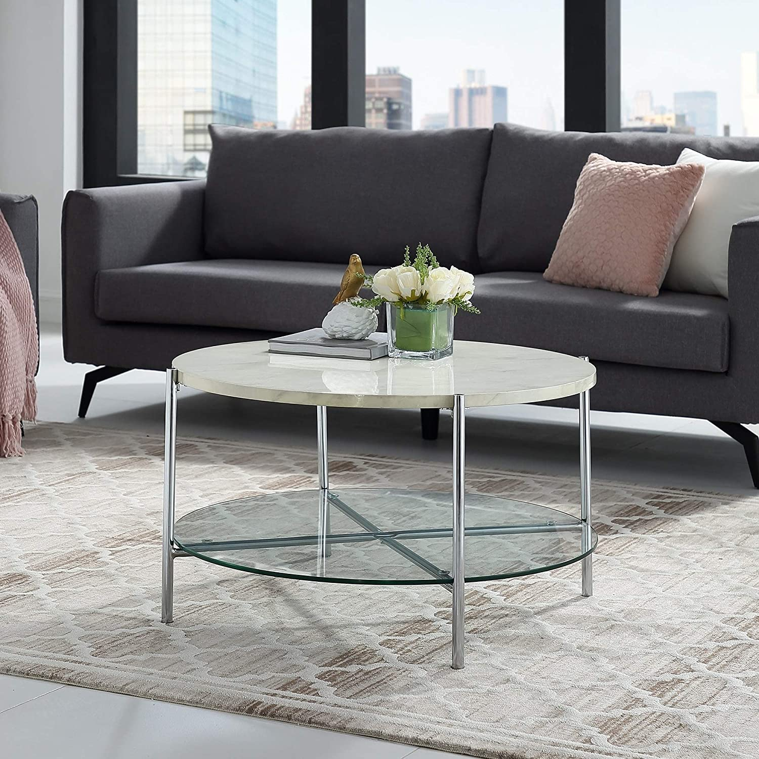 Overstock White Coffee Table.Amazon Com Overstock 32 Round Faux Marble Coffee Table 32 X 32 X