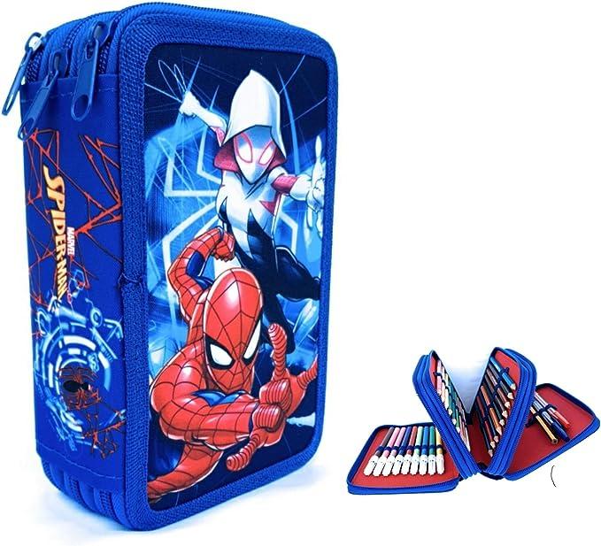 Estuches Spider Man de Lapìces Marvel, Estuche Spider-Man MARVEL,Triple con Tres Cremlleras, Estuche Escolar con Spider-Man, Gran Capacidad para la Escuela.: Amazon.es: Oficina y papelería