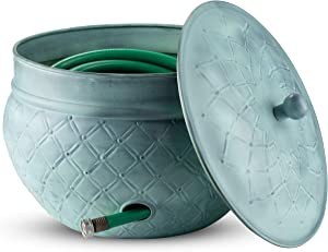 LifeSmart Decorative Garden Hose Pot Storage Holder with Lid 12 x 16 Inches Green Finish