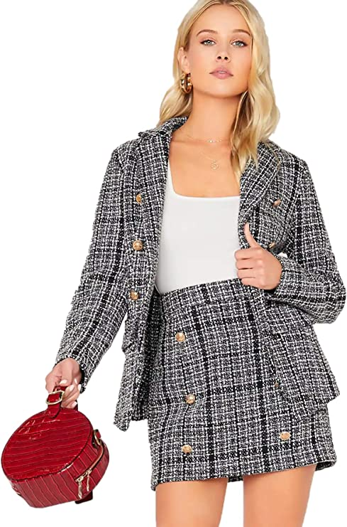 MakeMeChic Women's Two Piece Slim Fit Suit Frayed Tweed Blazer and Skirt Set