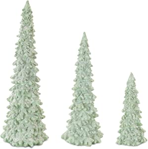 Melrose International Tree Festive Green 12 inch Resin Stone Christmas Holiday Figurines Set of 3