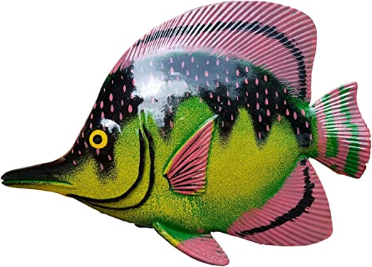 LARGE 10 x 7.5 ACRYIC RESIN DECORATIVE INDOOR//OUTDOOR TROPICAL FISH WALL DECOR