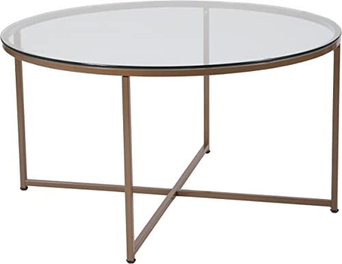 Flash Furniture Greenwich Collection Glass Coffee Table with Matte Gold Frame – NAN-JH-1786CT-GG