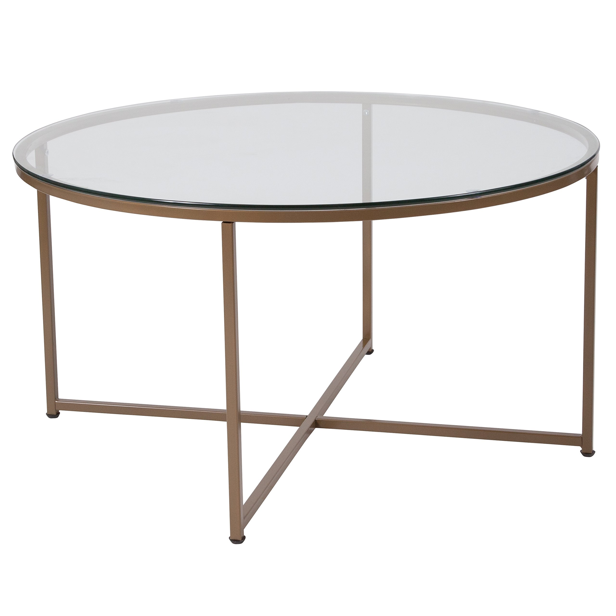 Flash Furniture Greenwich Collection Glass Coffee Table with Matte Gold Frame by Flash Furniture