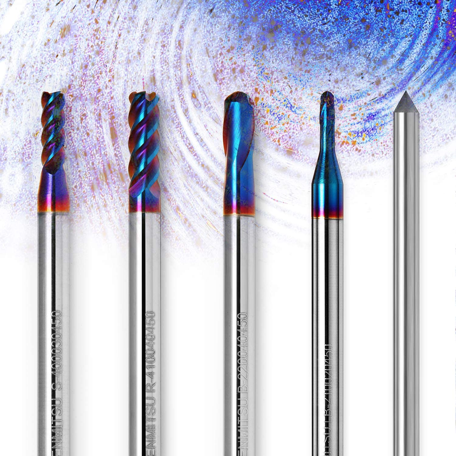 Genmitsu CNC Router Bits Square End Mill ideal for Wood Acrylic 4.0mm Cut Dia 4mm Shank 4 Flutes Plastic Solid Carbide Nano Blue Coat Tungsten Steel Aluminum Soft Metal Stainless Steel