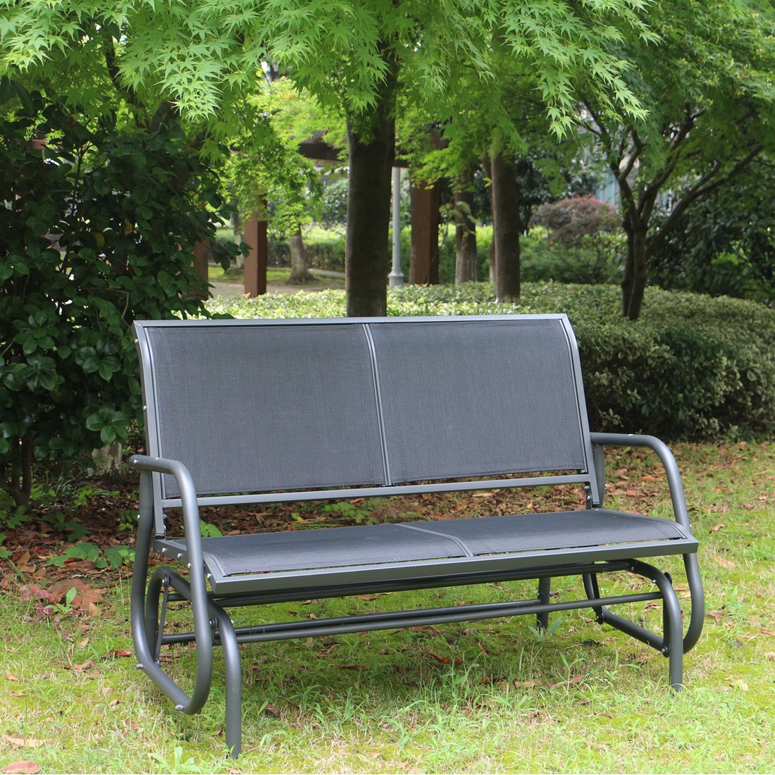 SUPERJARE Outdoor Swing Glider Chair, Patio Bench 2 Person, Garden Rocking Seating - Gray by SUPERJARE (Image #2)