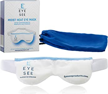 Eye See Dry Eye Moist Heat Compress - Warm Eye Compress to treat Dry Eyes, Blepharitis, Stye,Chalazion and Meibomian Gland Dysfunction -Stays Hot as a Heated Eye Mask Should! Storage Pouch Included!