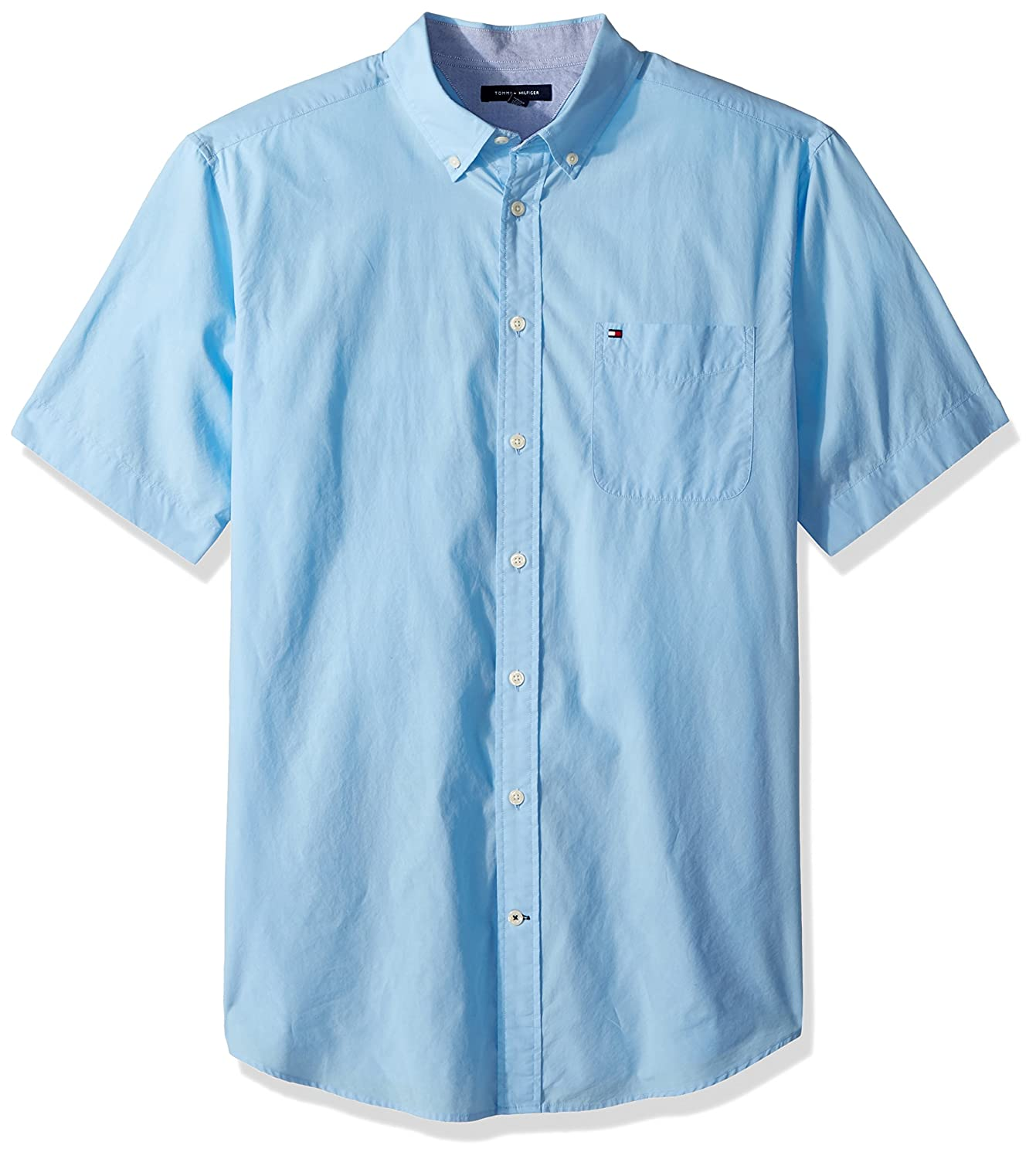 466cc6d2e8ac93 Amazon.com  Tommy Hilfiger Men s Big and Tall Button Down Short Sleeve Shirt  Maxwell  Clothing