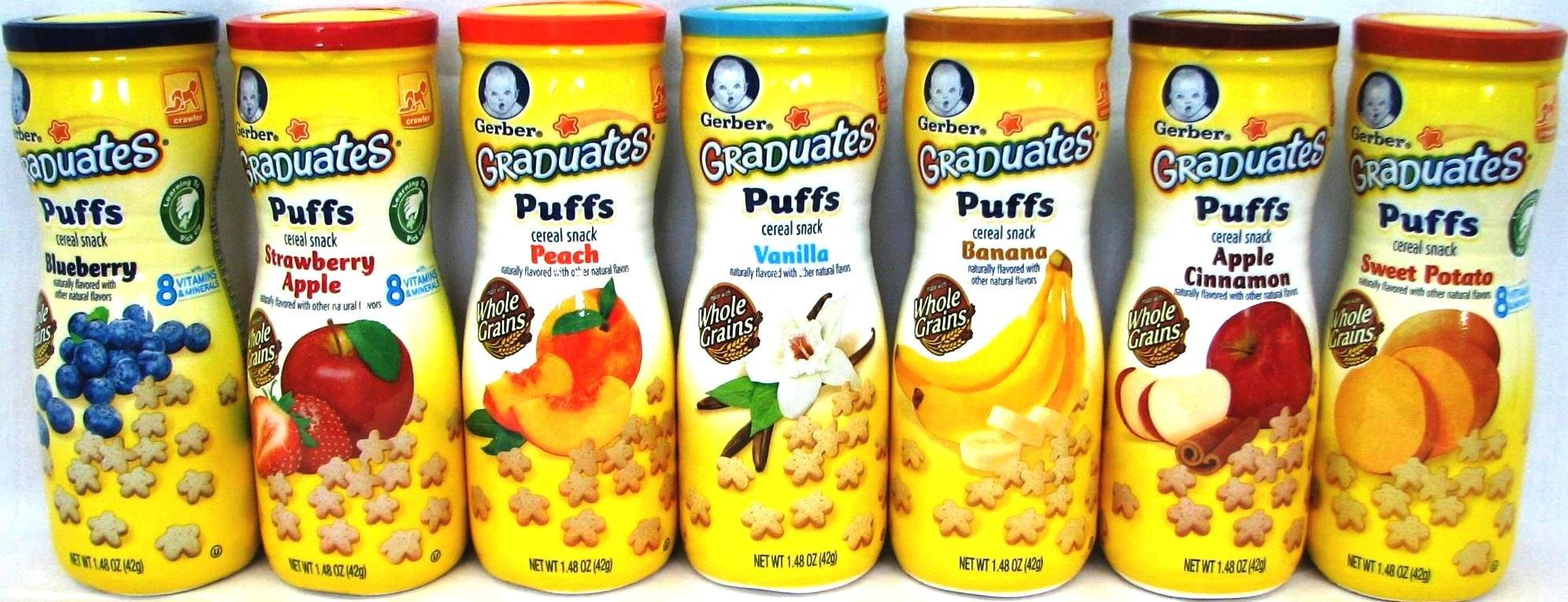 Gerber Graduates PUFFS Cereal Snack Variety Pack + Puffs Snack Catcher Cup- All 7 Flavors 1.48oz by Narrow Path Sales
