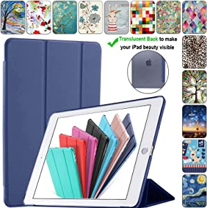 DuraSafe Cases for iPad 9.7 Inch 6/5 Gen 2018/2017 [ A1893 A1954 A1822 A1823 ] Smart Cover with Translucent Back - Navy Blue (Trifold)