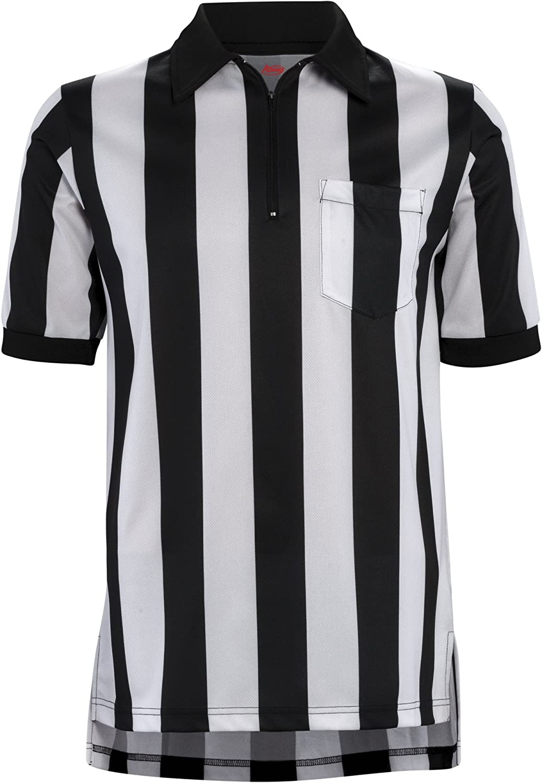 Adams Football Officials Referee Short Sleeve Shirt 2-1/4 Stripe, Black/White, Small: Sports & Outdoors