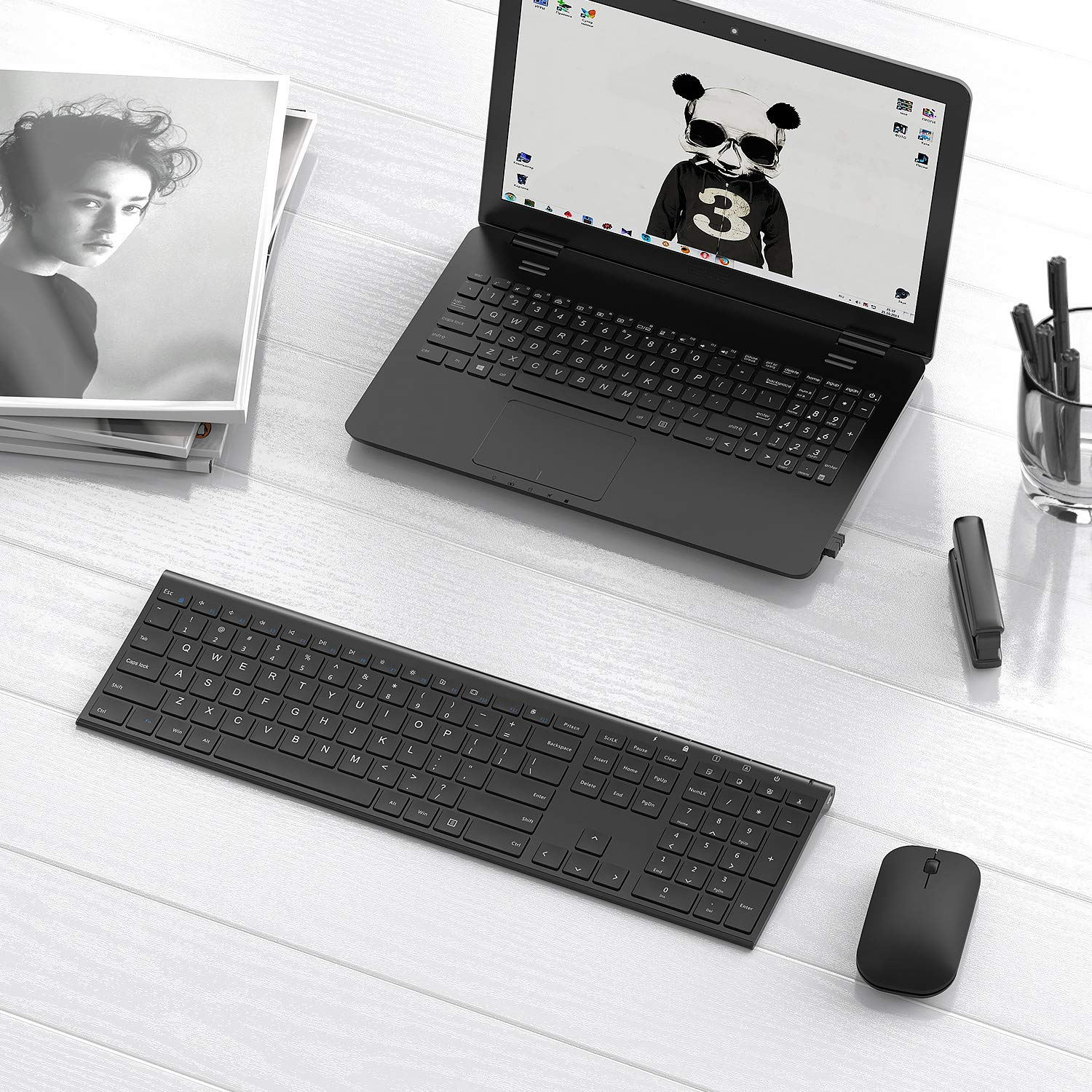 Jelly Comb B003B Dual Mode USB Wired /& Bluetooth Keyboard with Touchpad Rechargeable for Windows Android Tablet Smartphone Surface and More-Updated Black and Silver Foldable Bluetooth Keyboard