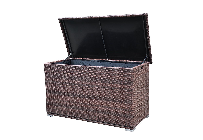 Radeway Modern Backyard Outdoor Furniture Wicker Patio Furniture Storage Box W/ Free Protective Cover, Brown DropJop