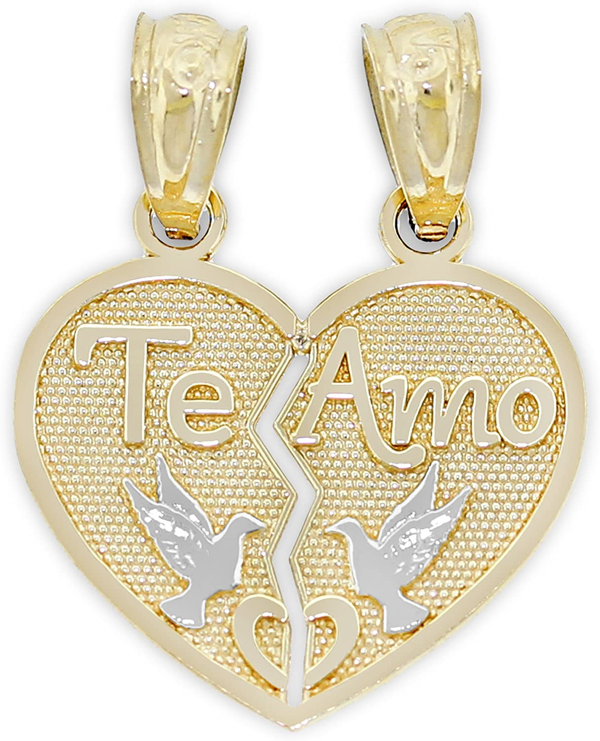 Solid 14k Yellow Gold I Love You Breakeable Pendant Two Heart Charm His /& Her