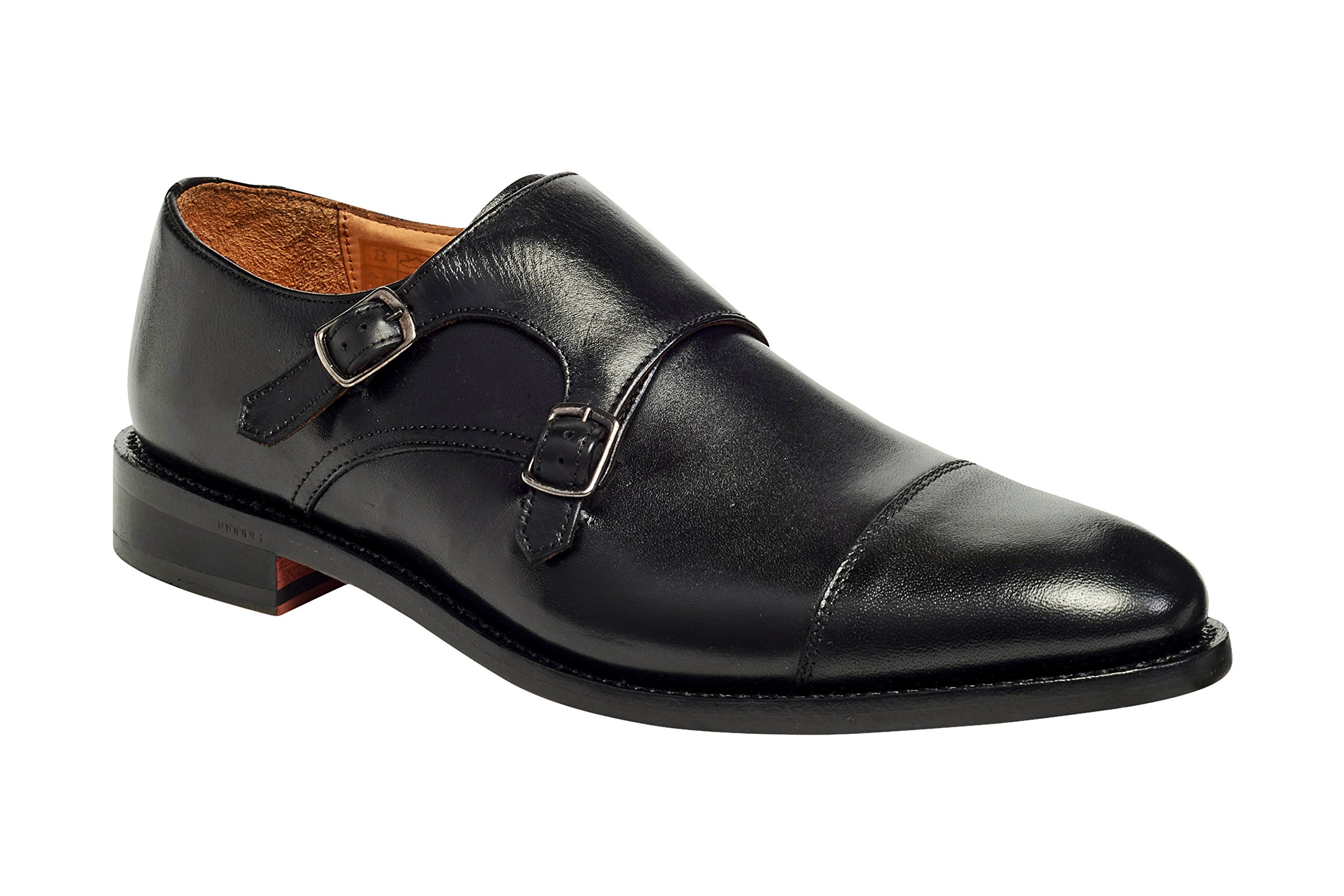 Anthony Veer Mens Roosevelt II Oxford Double Monk Strap Leather Shoe In Goodyear Welted Construction (10 D, Black)