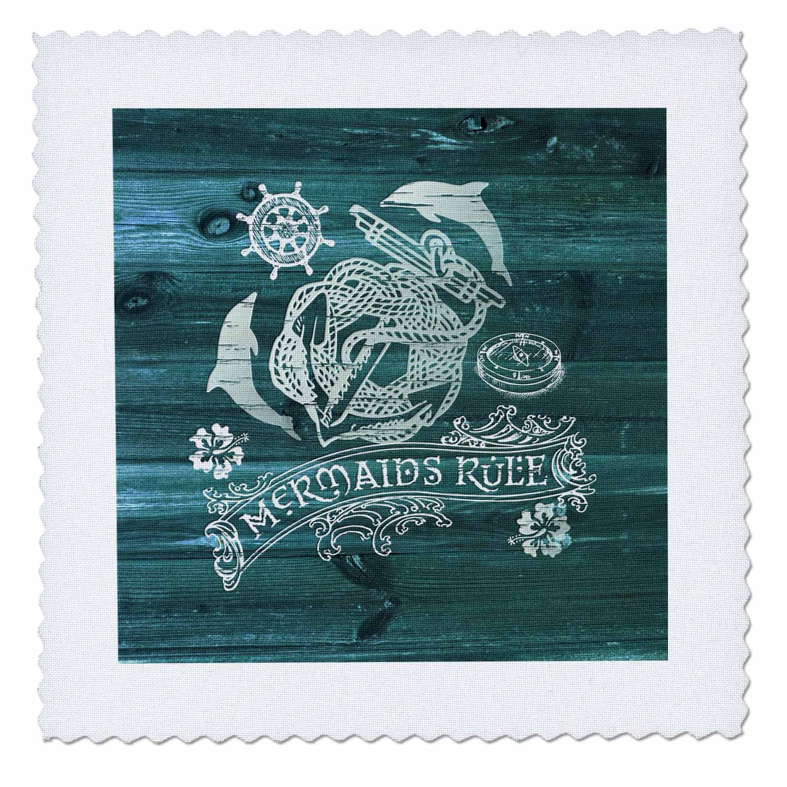 3dRose Russ Billington Nautical Designs - Mermaids Rule- White Anchor Design on Blue Weatherboard- not real wood - 22x22 inch quilt square (qs_262165_9)