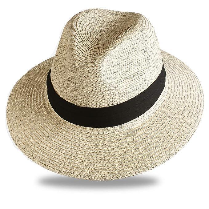 7316e137e2fb3 Image Unavailable. Image not available for. Color  FURTALK Sun Hats for Men  Women Wide Brim Havana Jazz Sun Protection Straw Panama Fedora Beach