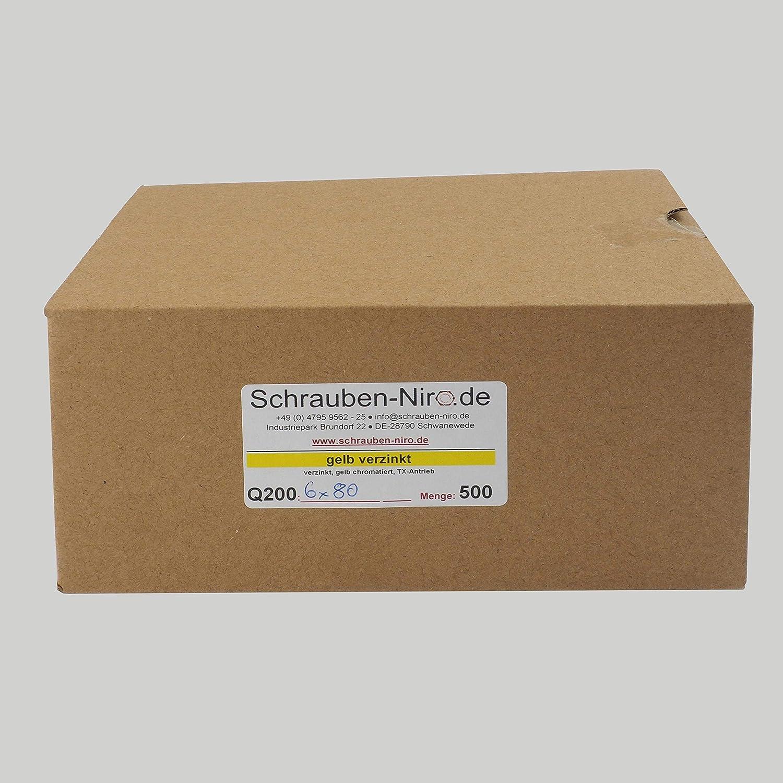200 St/ück Spanplattenschrauben 3,5 x 25 mm TX10 Vollgewinde Holzschrauben Universal Schrauben Q200 Torx verzinkt gelb