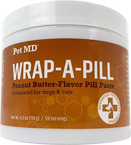 Pet MD Wrap A Pill Peanut Butter Flavored Pill Paste for Dogs – Make a Pocket to Hide Pills and Medication for Pets – 59 Servings