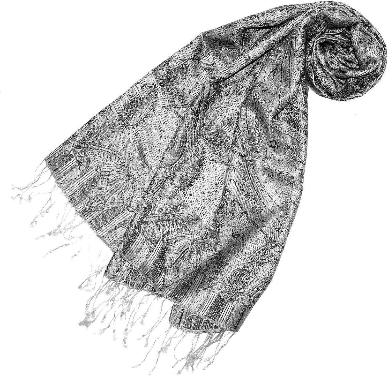 souple /él/égant en gris argente noir fait /à la main /écharpe de 100/% soie avec les mesures de 55 x 180 cm LORENZO CANA Pashmina pour l/´homme