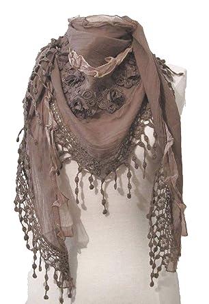 Triangle Schal mit floralem Muster, gehäkelt, Spitze: Amazon.de ...