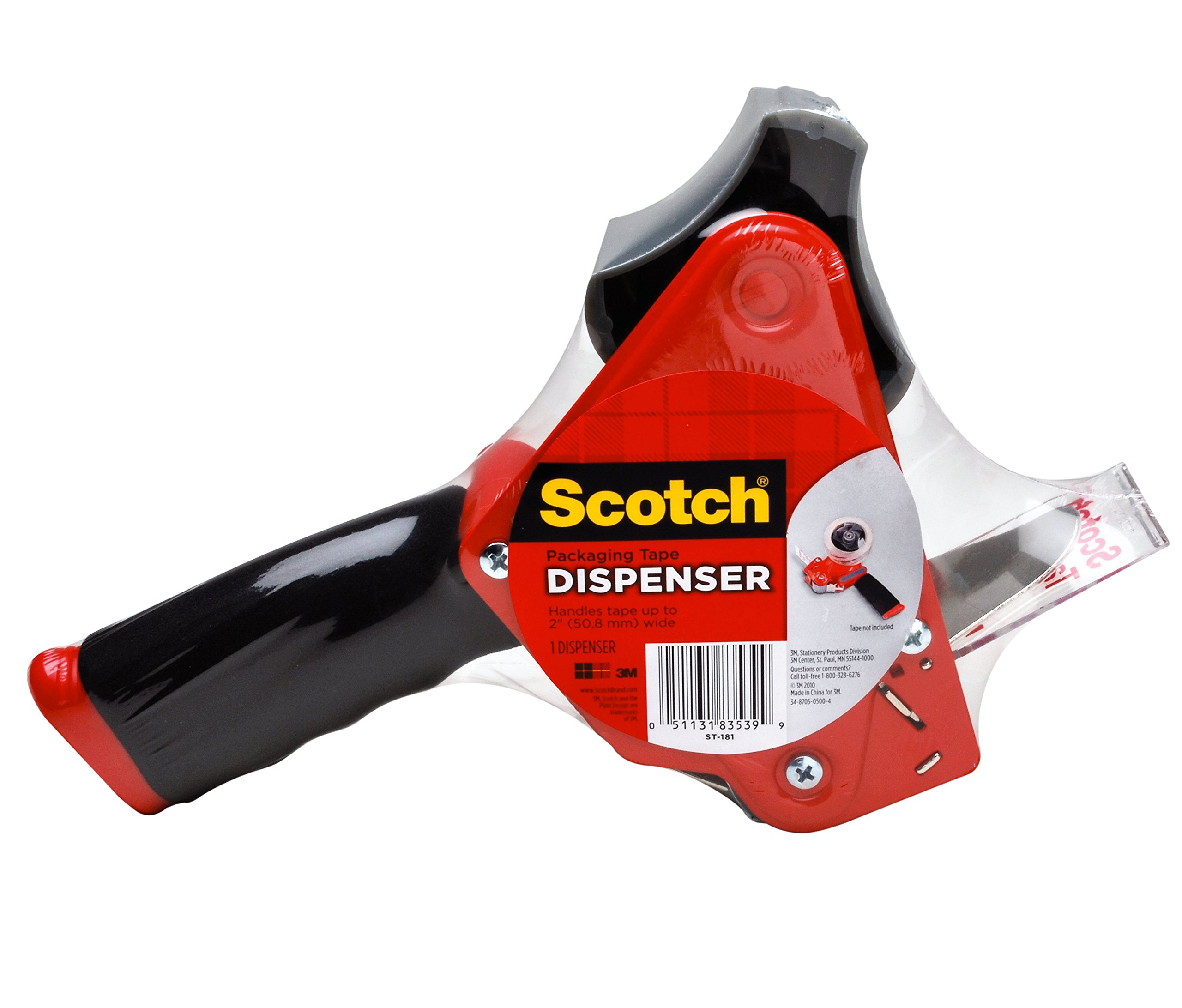 Scotch Packaging Tape Dispenser ST-181, Designed for Standard 3'' Core Rolls, Foam Handle, Retractable Blade and Adjustable Brake by Scotch Brand