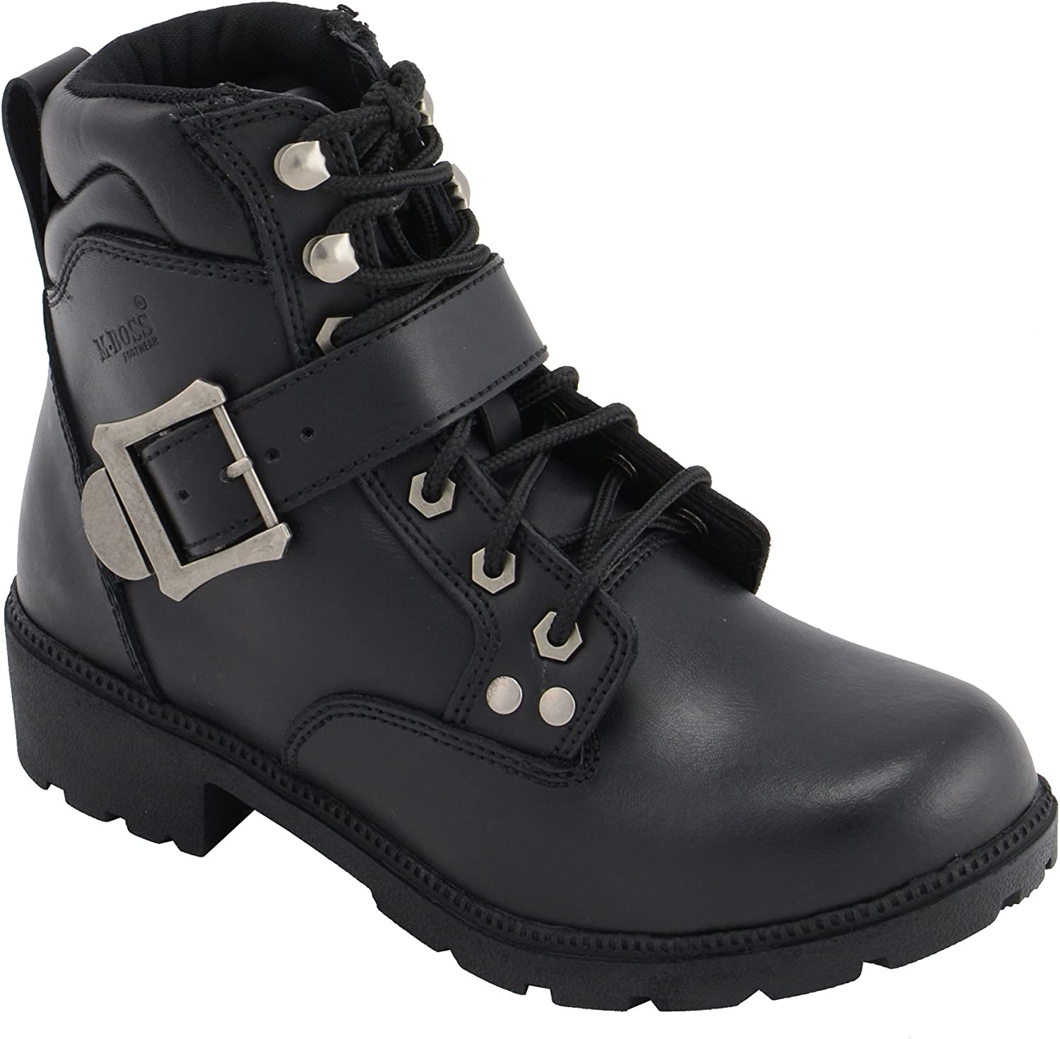M Boss Motorcycle Apparel BOS49301 Ladies 7 Inch Black Road Captain Leather Motorcycle Boots 9.5