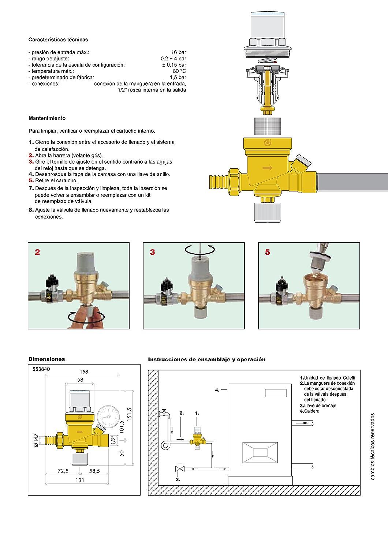 Caleffi 553840 Automatische F/üllarmatur 1//2 Zoll Verkalkungsunempfindlich Optische Voreinstellung Sichtbar mit Manometer