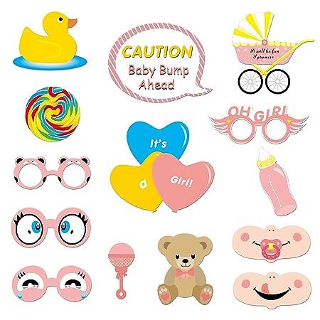 Konsait 53 Pcs Photo Booth bebés Niña photocall Accesorios Decoracion Máscaras Gafas con Palos para Baby Shower Decoraciones de Fiesta