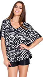 cbd7c6622b Futuro Fashion Womens Batwing Short Sleeves V Neck Top Zebra   Panther  Ladies Blouse M-