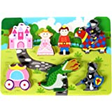 """Fun Princess Castle Chunky Wooden Puzzle for Toddlers, Preschool Age w/ """"Easy-Hold"""" Colorful Solid Wood Pieces. Simple Educational & Sensory Learning for 1, 2 & 3 Year Olds"""